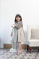 Нарядный сарафан для девочек из льна с рубашкой ручной работы (Италия)