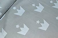 """Польская хлопковая ткань """"короны белые со звездами на сером"""""""