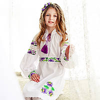 Оригінальне вишите лляне плаття з поясочком на дівчинку, фото 1