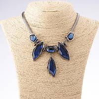 Колье с синими кристаллами шесть камней темный металл 45-50см