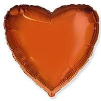 """Фольгированный шар без рисунка Flexmetal (металлик) Сердце Оранжевое 18"""""""
