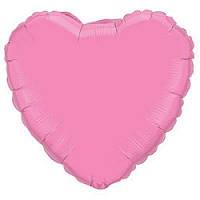 """Фольгированный шар без рисунка Flexmetal (пастель) Сердце Розовое 18"""""""