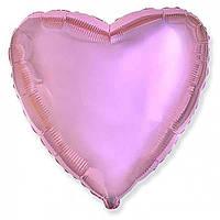 """Фольгированный шар без рисунка Flexmetal (металлик) Сердце Розовое 18"""""""