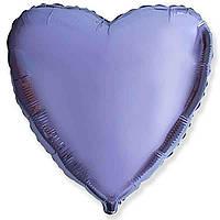 """Фольгированный шар без рисунка Flexmetal (металлик) Сердце Лиловое 18"""""""