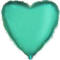 """Фольгированный шар без рисунка Flexmetal (металлик) Сердце Изумрудное 18"""""""