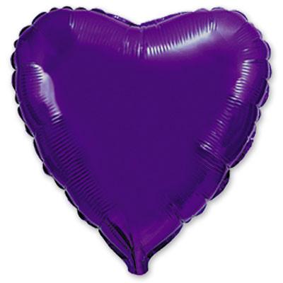 """Фольгированный шар без рисунка Flexmetal (металлик) Сердце Фиолетовое 18"""""""