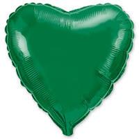 """Фольгированный шар без рисунка Flexmetal (металлик) Сердце Зеленое 18"""""""