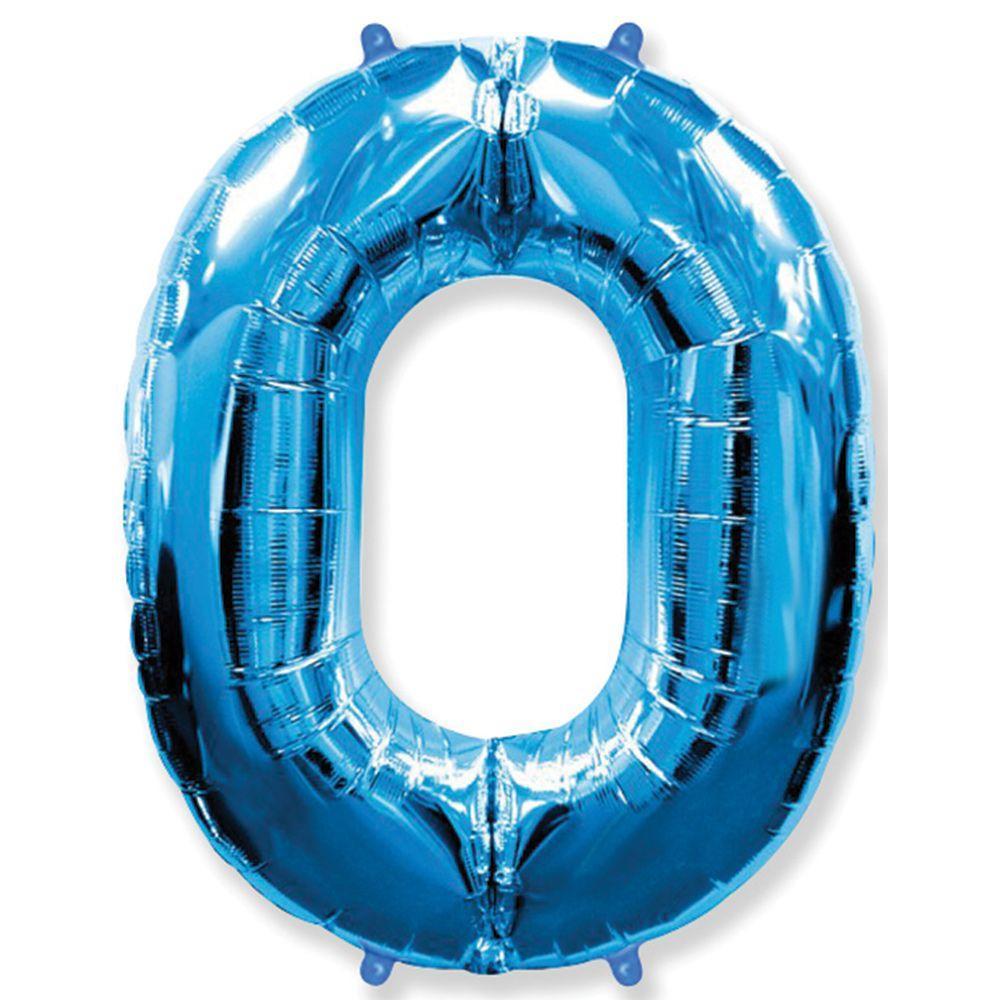 """Фольгированный шар Flexmetal цифра 0 Синяя 40"""" (95 см)"""