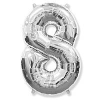 """Фольгированный шар Flexmetal цифра 8 Серебряная 40"""" (95 см)"""