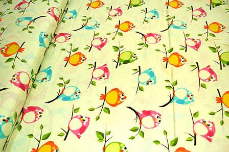 """Польская хлопковая ткань """"птички разноцветные на молочном"""", фото 2"""