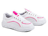 Женские модные кроссовки на платформе оптом от фирмы Violeta 80-5 White/Pink (8пар, 36-40)