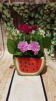 Керамическая ваза Арбуз  с цветами