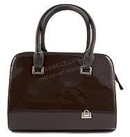 Оригинальная каркасная лаковая сумка с эко кожи очень высокого качества B.Elite art. 06-31 коричневый