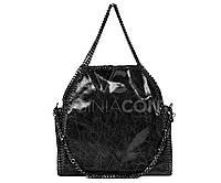 Лаковая черная кожаная сумка