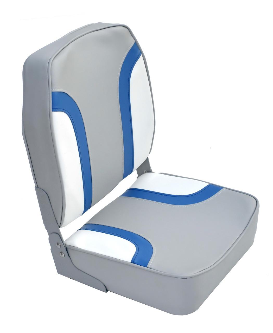 Сиденье высокое лодочное светлосерое/сине-белое