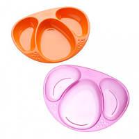 Тарелочки 3-х секционные, фиолетовая и оранжевая, (2 штуки), Tommee Tippee