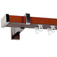 Карниз дерево-металл Интерно вишня двойной 25/55мм/200см