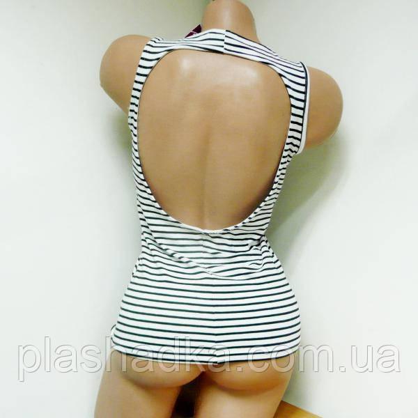 Женская боксерка черно-белая с открытой спиной