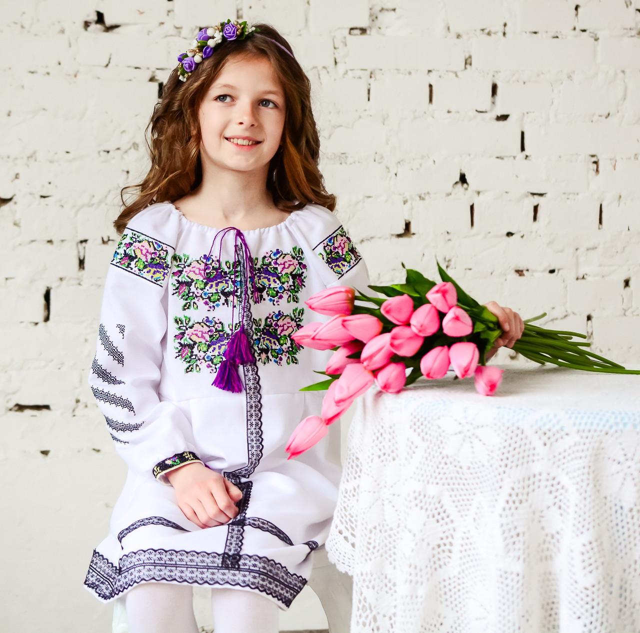 Вишите біле плаття для дівчинки з мереживом - Интернет-магазин