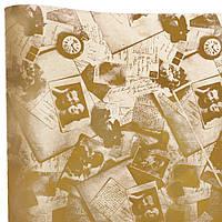 """Подарочная бумага ретро """"Фото, часы""""(87) коричневые на крафте"""