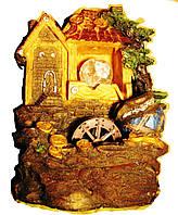 Фонтан комнатный декоративный домашний настольный с шариком и подсветкой Дом с золотом на крыше 27 см 219