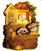 Фонтан комнатный с шариком и подсветкой 27 см 219 Дом с золотом на крыше, горшки декоративный домашний настоль