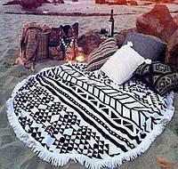 Круглый пляжный коврик (подстилка для пляжа) черно-белая Mandala