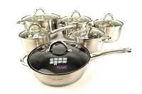 Набор девятислойных кастрюль нержавейка из 6 шт+сковорода