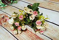 Букет  роза кремовая с розовым