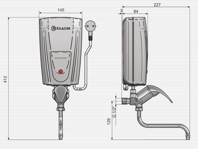установка и размеры проточного водонагревателя Eldom 3,5 kw E42 кран