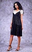 Женское гипюровое двухслойное платье (черное)