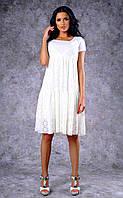 Женское гипюровое двухслойное платье (белое)