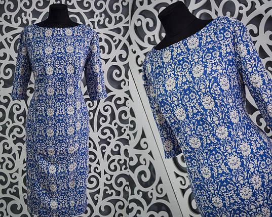 """Милое женское платье с орнаментом """"Хлопок+стрейч"""" 54 размер батал, фото 2"""