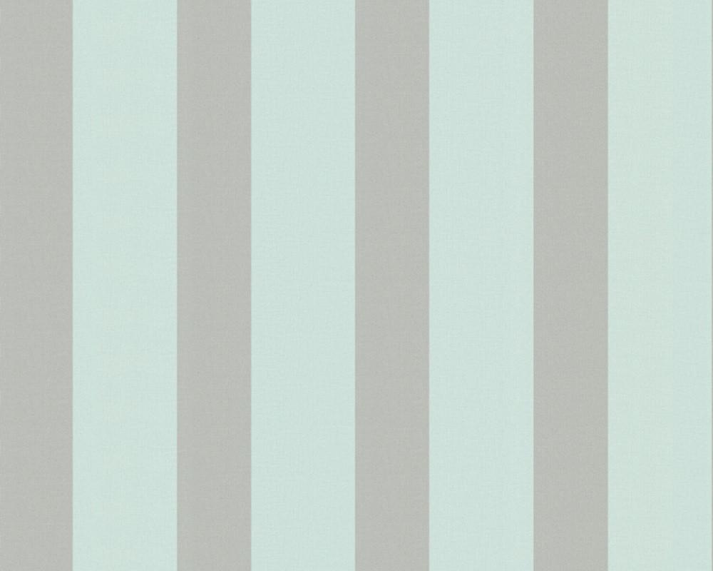 Метровые немецкие обои Saffina 333244 в светло серую полоску на пастельном бирюзовом фоне, горячее тиснение