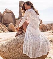 Пляжная накидка в пол с кружевом (парео, пляжное платье) Белая кружевная