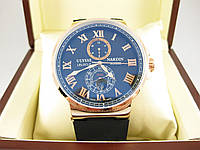 Часы Ulysse Nardin Marine (механика) Gold/Black. Replica, фото 1