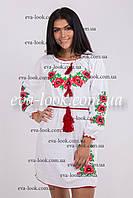 Красивое вышитое женское платье белого цвета на длинный рукав