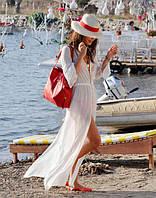 Пляжная накидка в пол белая (парео, пляжное платье) из шифона