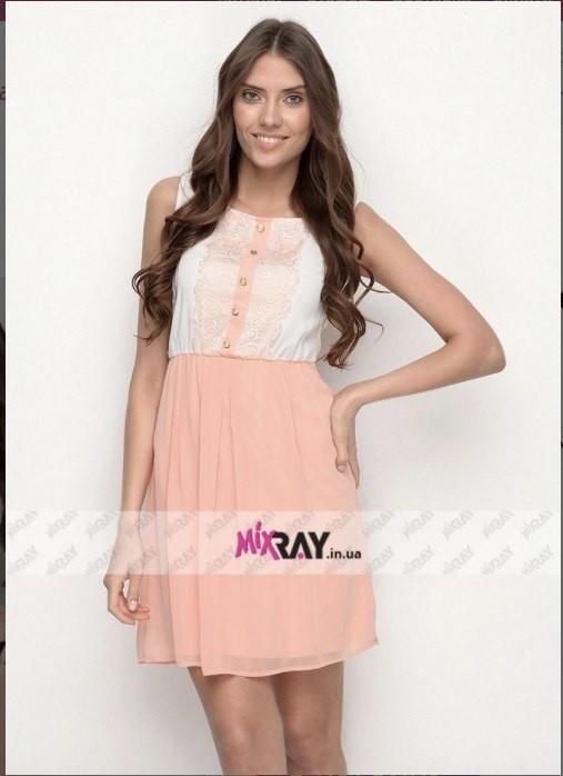 """Милое женское платье Цвет """"персик"""" """"шифон на подкладке"""" с кружевом 44, 46 размер норма"""