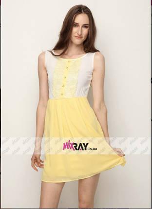 """Милое женское платье Цвет """"желтый"""" """"шифон на подкладке"""" с кружевом 42, 46 размер норма, фото 2"""