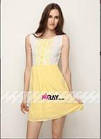 """Милое женское платье Цвет """"желтый"""" """"шифон на подкладке"""" с кружевом 42, 46 размер норма"""