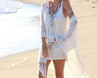 Пляжная накидка с кружевом (парео, пляжное платье) Белая кружевная