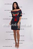 Красивое вышитое женское платье на короткий рукав.