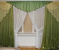 Готовый комплект шторы + ламбрекен + тюль  №305 зеленый