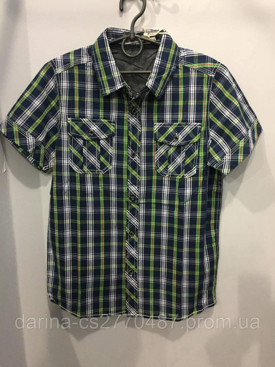 Подростковая рубашка в клетку 140 см