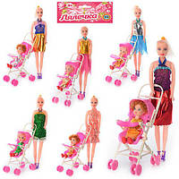 Кукла 68003 A (144шт.) 27см.,с коляской 10-17,5-7см.,,дочка 10,5см., микс видов, в кульке 33-22-7см.