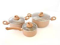 """Набор посуды из алюминия """"Latte"""" 6пр.со стеклянными крышками и антипригарным каменным покрытием Fissman"""