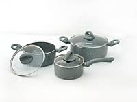 """Набор посуды из алюминия """"Vulcano"""" 6пр.со стеклянными крышками и антипригарным каменным покрытием Fissman"""