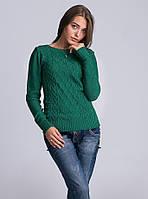 Женский вязаный джемпер зеленого цвета