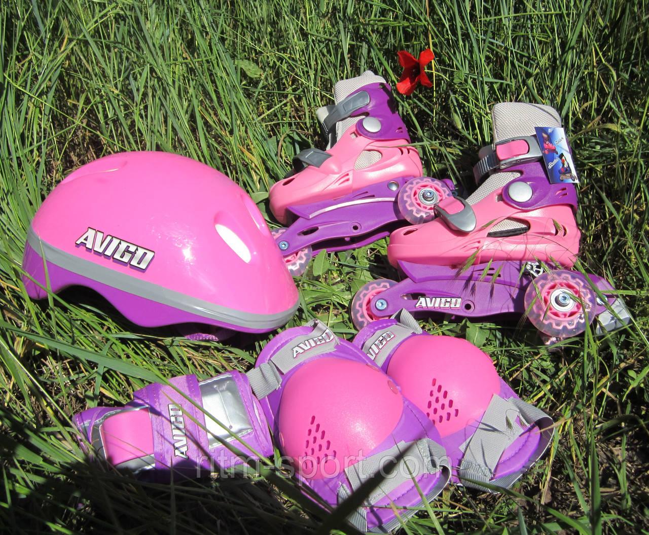 Набор: ролики раздвижные детские+защита, шлем (р-р XS/25-28,изменен. полож.колес,роз,син)